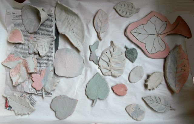 ceramic leaves created at workshop in Broomfield Conservatory