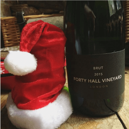 forty hall vineyard brut 2015 with santa hat 1