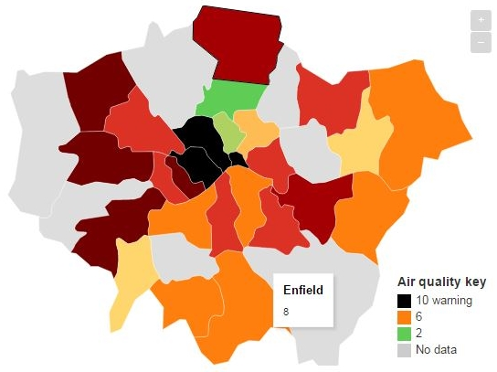pollution peaks in london 23 jan 2017