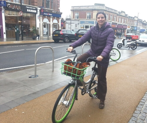 clare rogers riding urbo bike in palmers green