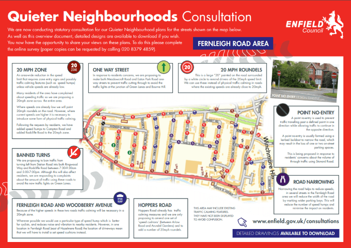 fernleigh road quieter neighbourhood consultation  map