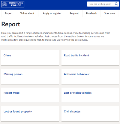 metropolitan police report web page cropped