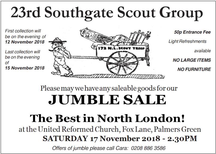 scout jumble sale nov 2018