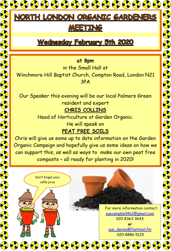 poster or flyer advertising event North London Organic Gardeners: Peat-free soils