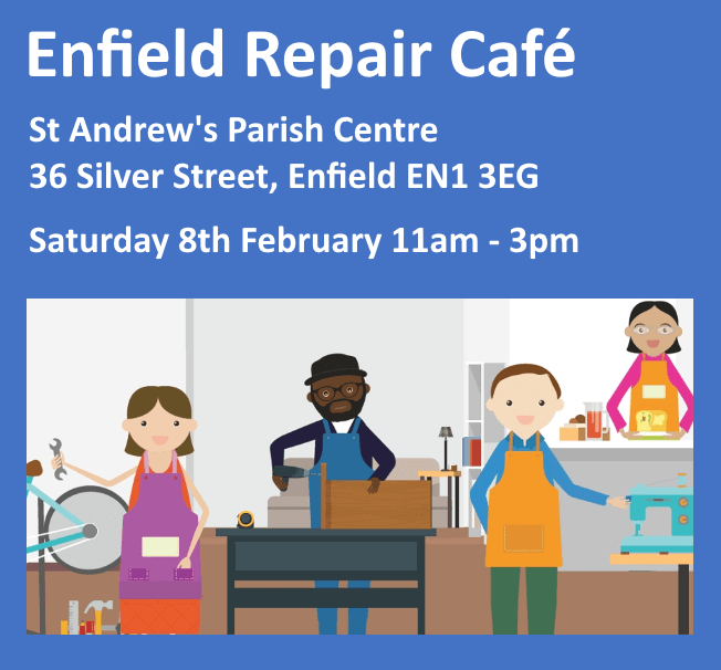 poster or flyer advertising event Enfield Repair Cafe