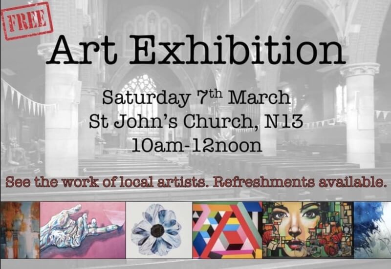 poster or flyer advertising event Art exhibition in St John\'s church