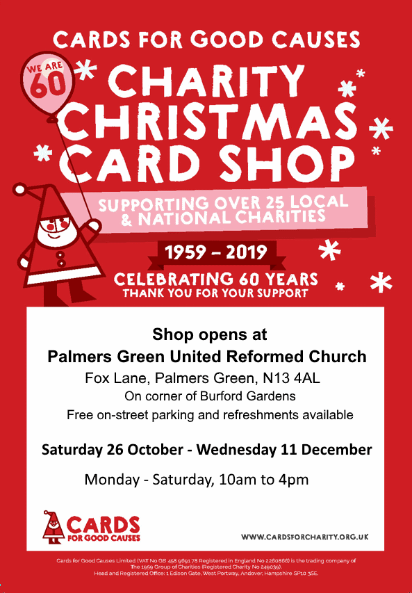 poster or flyer advertising event Cards for Good Causes Christmas Card Shop
