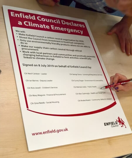 enfield council cabinet members sign climate emergency declaration