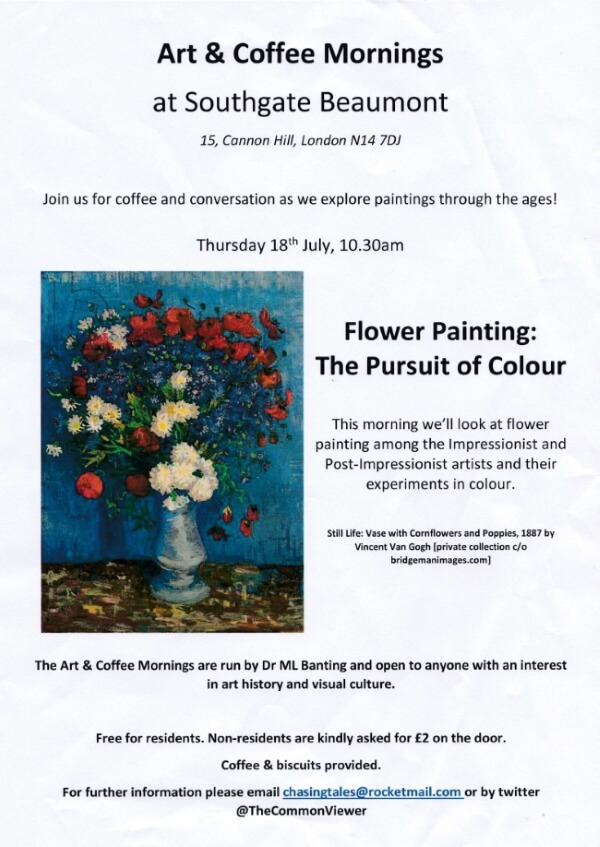 poster or flyer advertising event Art & Coffee Morning: Flower painting - the pursuit of colour