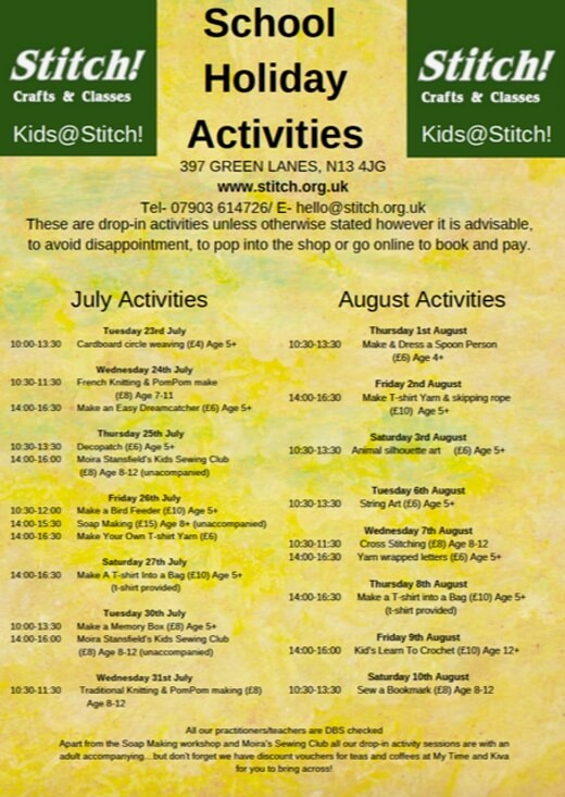 poster or flyer advertising event School holiday activities at Stitch!