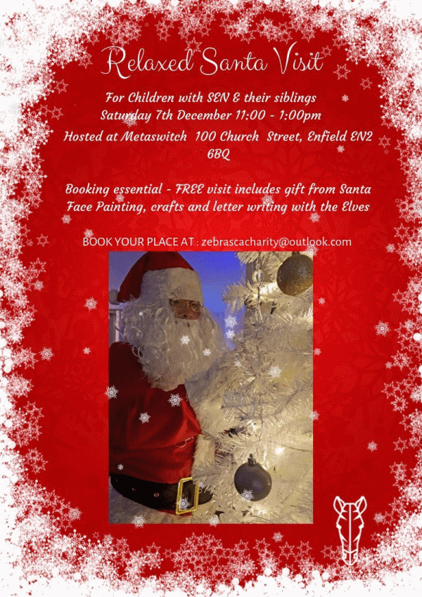 poster or flyer advertising event Relaxed Santa Visit - for children with SEN and their siblings