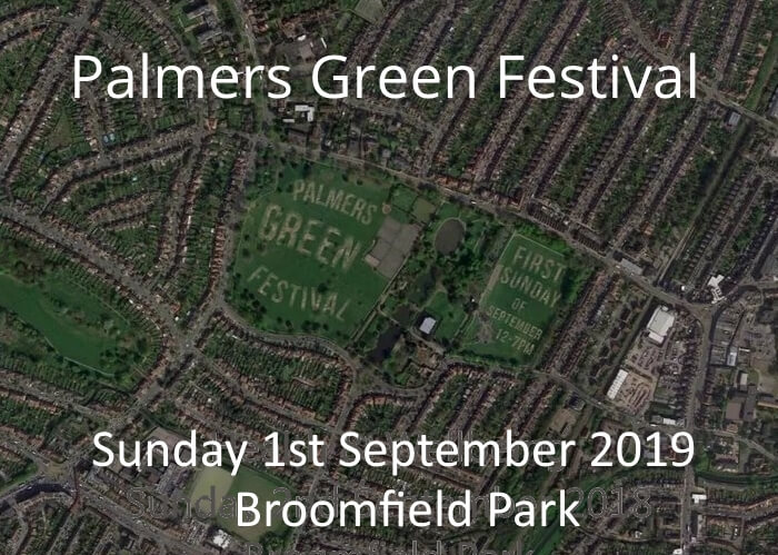 poster or flyer advertising event Palmers Green Festival