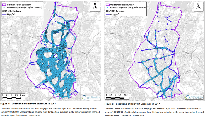 Comparisons of exposure to illegal levels of NO2 in Waltham Forest 2007 vs 2017