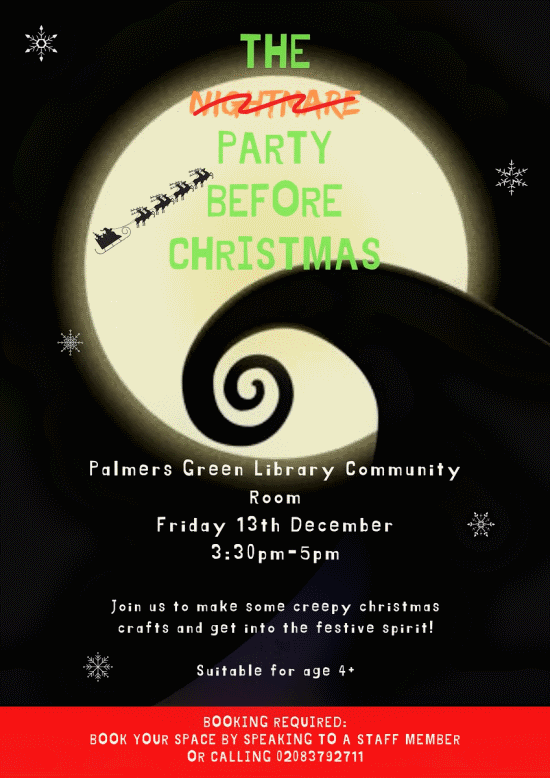 poster or flyer advertising event The (Nightmare) Party Before Christmas