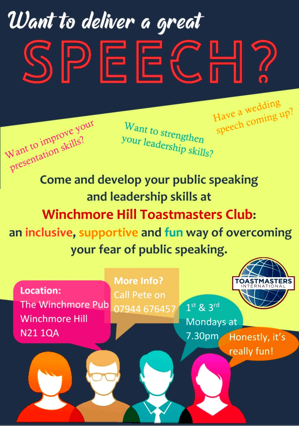 poster or flyer advertising event Winchmore Hill Toastmasters Club
