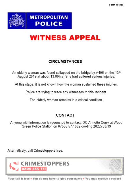 Police reissue appeal for witnesses to incident near North Circular footbridge