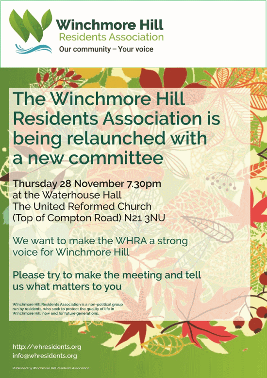 poster or flyer advertising event Winchmore Hill Residents Association: Annual General Meeting