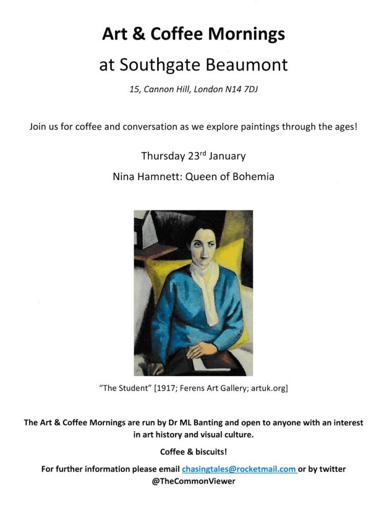 poster or flyer advertising event Art & Coffee Morning: Nina Hamnett - Queen of Bohemia