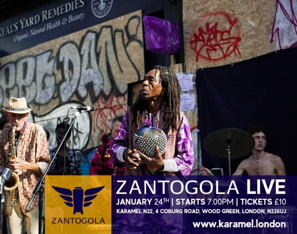 poster or flyer advertising event Live music: Zantogola