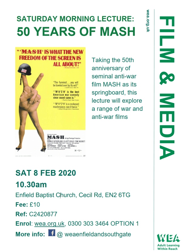 poster or flyer advertising event Saturday Morning Lecture: 50 Years of MASH