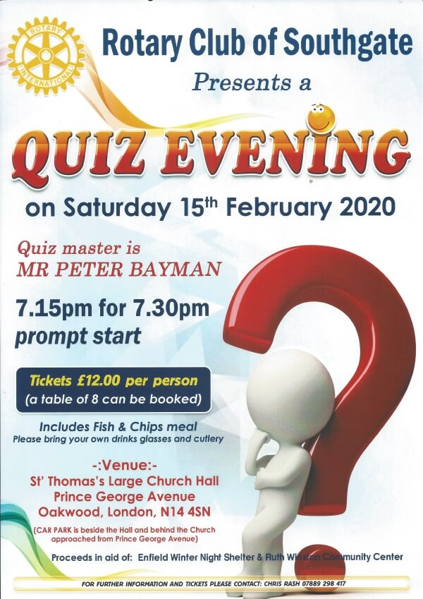 poster or flyer advertising event Charity Quiz Evening
