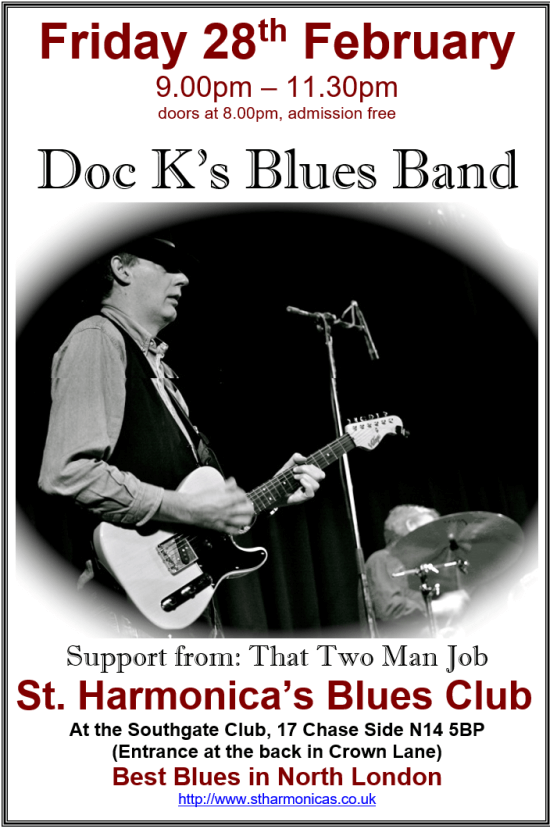 poster or flyer advertising event St Harmonica\'s Blues Club: Doc K\'s Blues Band + That Two Man Job