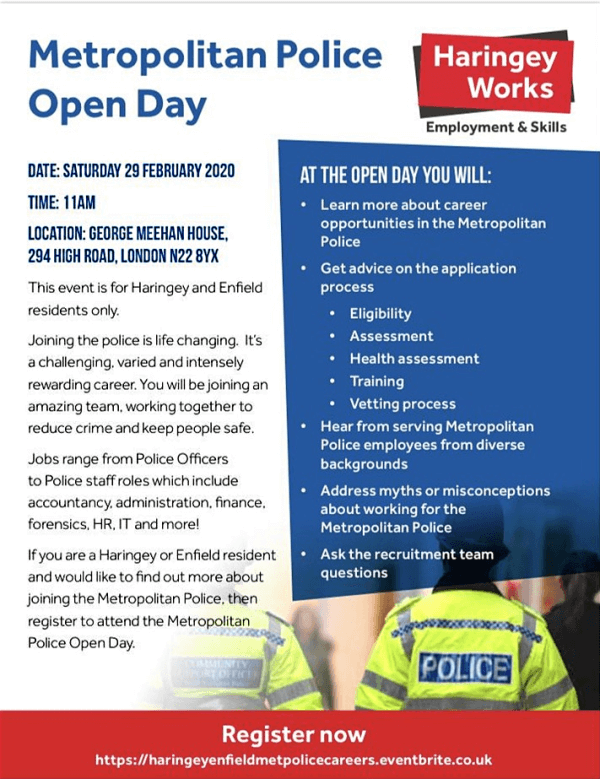 poster or flyer advertising event Met Police Open Day (Enfield and Haringey residents)
