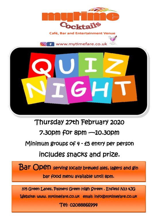 poster or flyer advertising event Quiz Night
