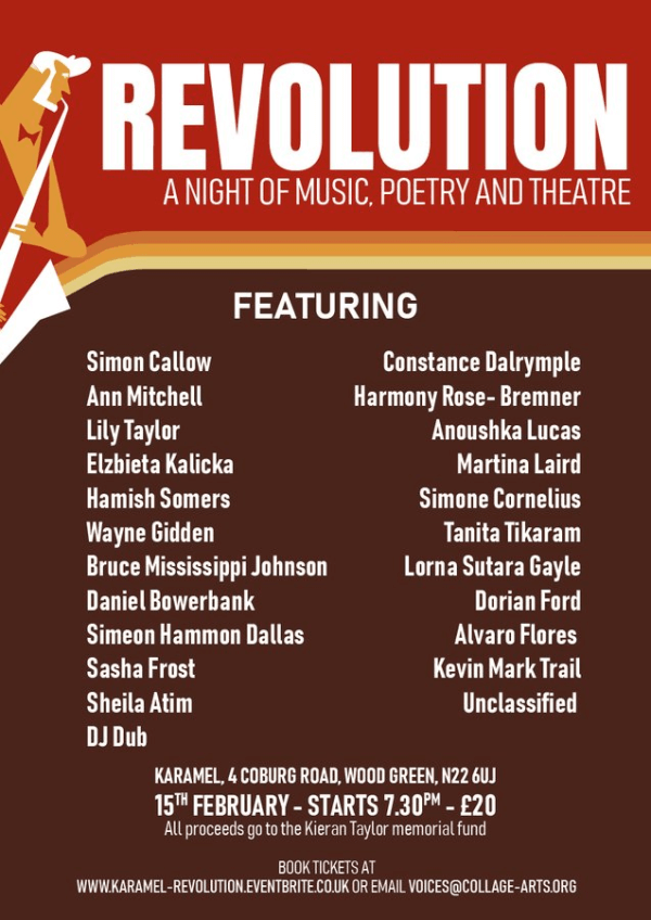 poster or flyer advertising event Revolution: A Night of Music, Poetry and Theatre