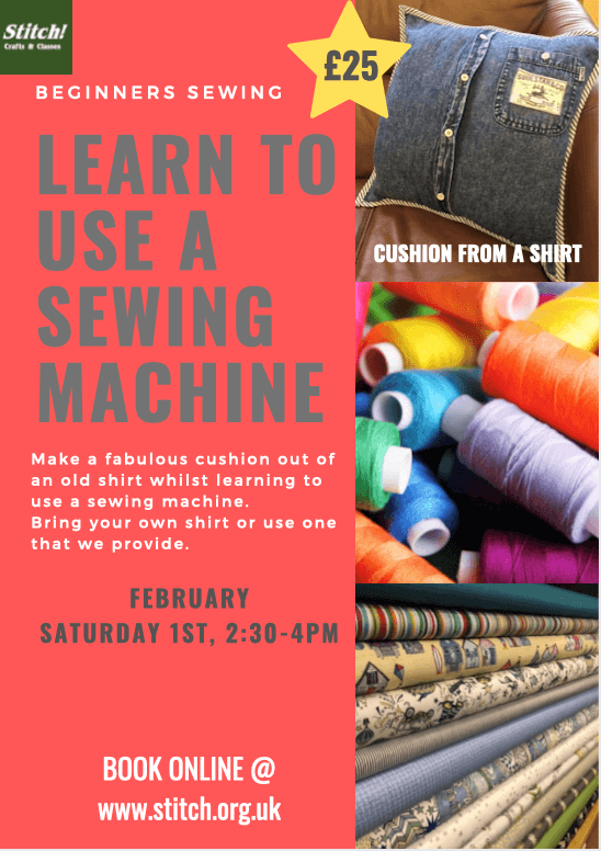 poster or flyer advertising event Learn To Use A Sewing Machine & Make A Cushion Out of A Shirt!