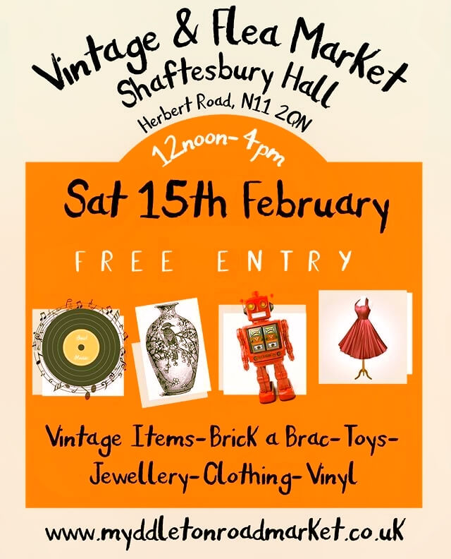 poster or flyer advertising event Vintage and Flea Market