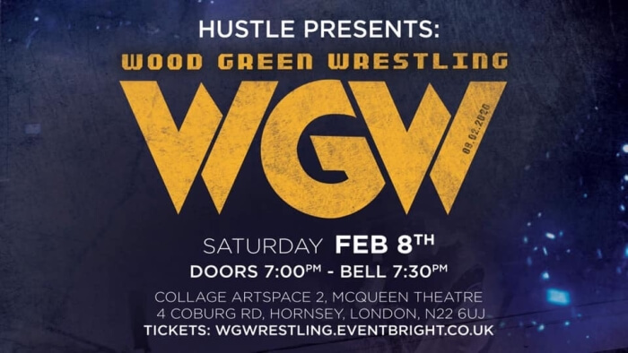 poster or flyer advertising event Hustle presents: Wood Green Wrestling