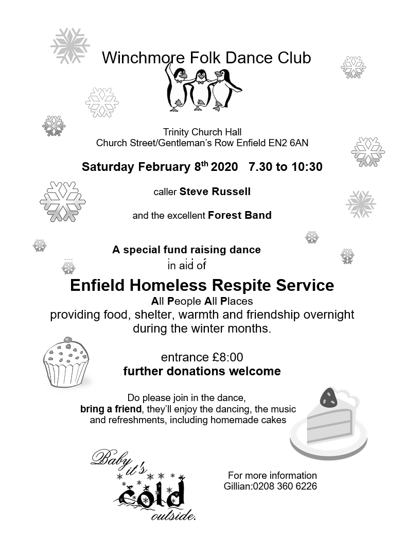 poster or flyer advertising event Folk Dance in aid of All People All Places Enfield Winter Respite Service