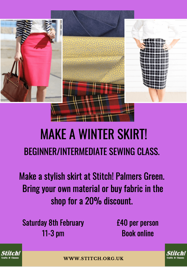 poster or flyer advertising event Learn to Make A Winter Skirt!
