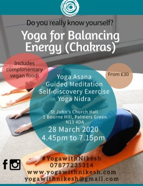 poster or flyer advertising event Yoga for balancing energy (Chakras)