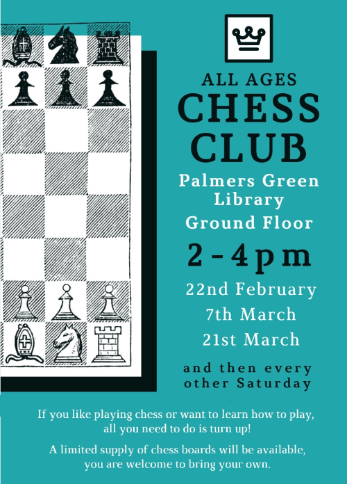 poster or flyer advertising event All-Ages Chess Club at Palmers Green Library