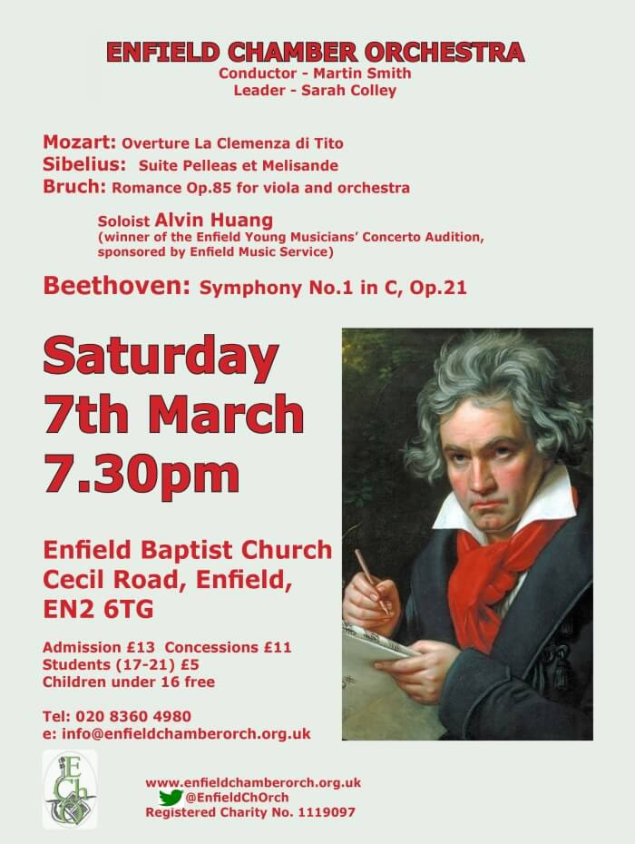 poster or flyer advertising event Enfield Chamber Orchestra concert: Beethoven, Bruck