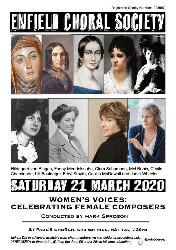 poster or flyer advertising event Enfield Choral Society: Women\'s Voices - Celebrating Female Composers