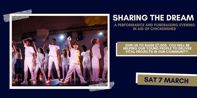 poster or flyer advertising event Sharing the Dream - a performance and fundraising evening in aid of Chickenshed