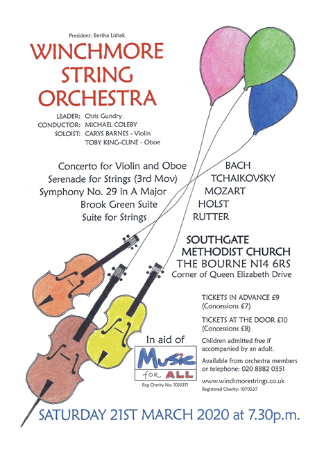 poster or flyer advertising event Winchmore String Orchestra concert: Holst, Rutter, Bach, Tchaikovsky, Mozart