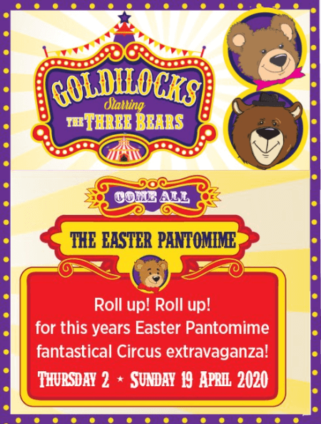 poster or flyer advertising event The Dugdale Theatre presents Goldilocks - starring the Three Bears