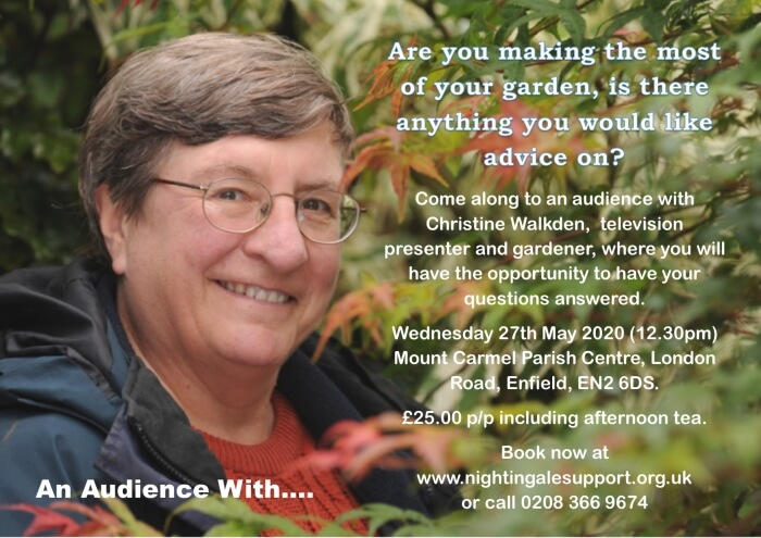 poster or flyer advertising event Nightingale Cancer Support: An Audience with Christine Walkden