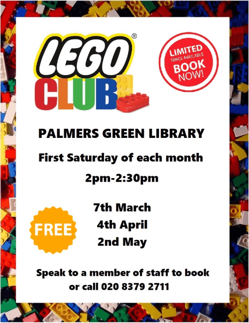 poster or flyer advertising event Lego Club for children aged 5 to 12