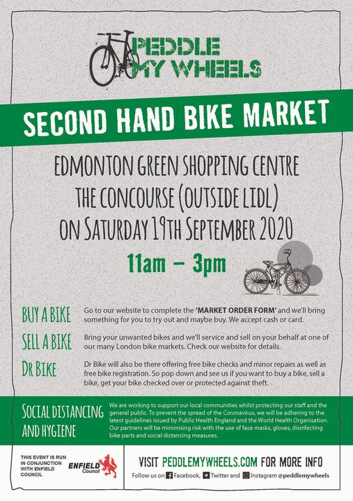 poster or flyer advertising event Second-hand bike market