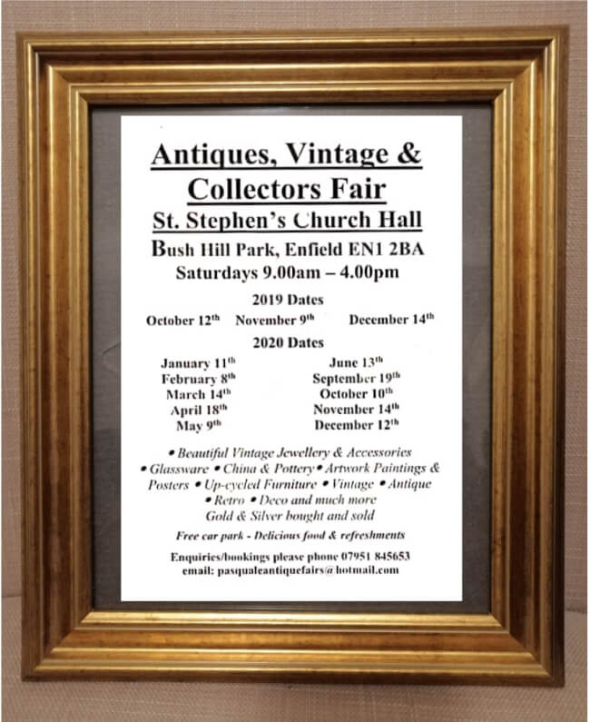poster or flyer advertising event Antiques, Vintage & Collectors Fair