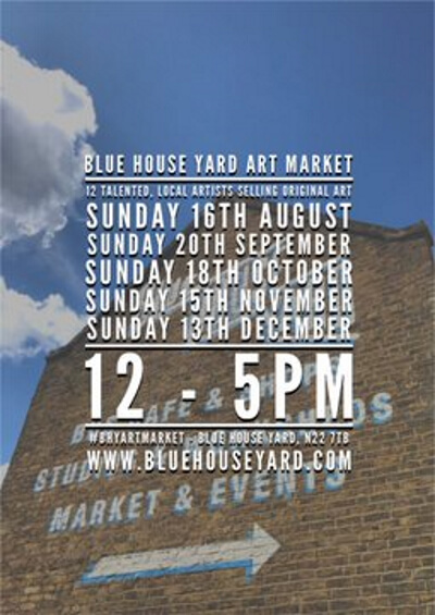poster or flyer advertising event Blue House Yard Art Market