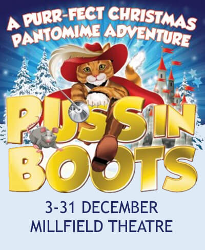 poster or flyer advertising event Panto: Puss in Boots