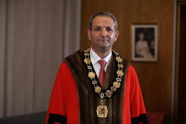 Cllr Sabri Ozaydin in mayoral robes