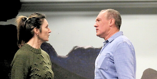 Maria Casey as Mrs Alving and Jeremy Davies as Pastor Manders in rehearsal for Ghosts