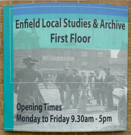 enfield local studies and archive sign